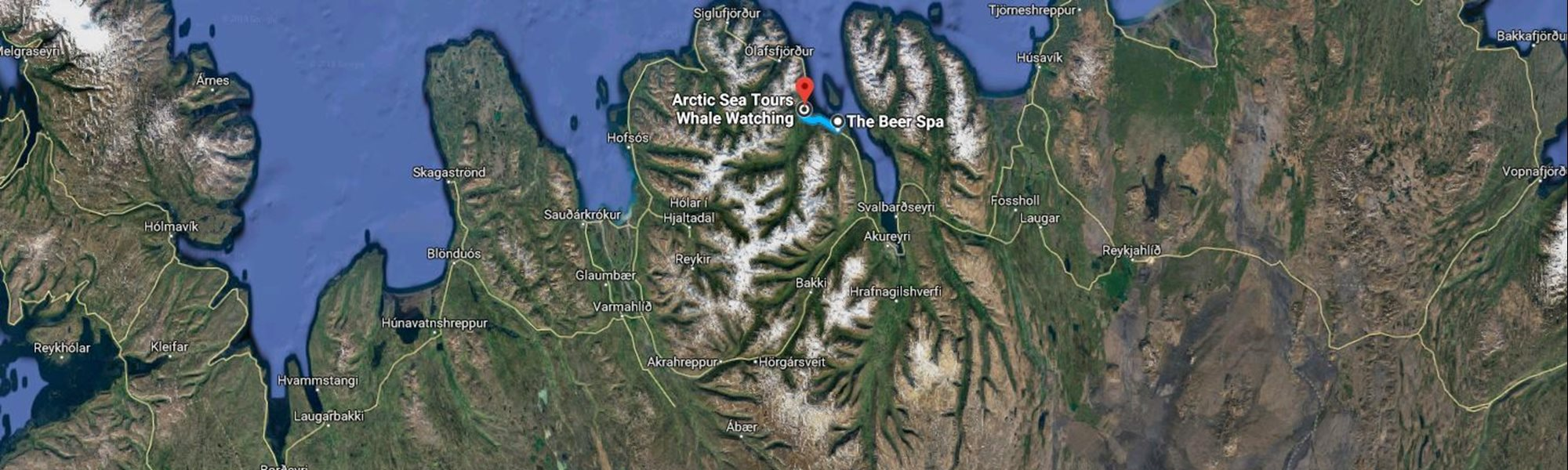 North Iceland map for beer spa and whale watching dalvik