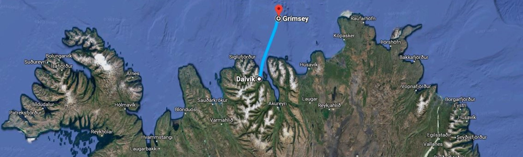 Map of the Grimsey day tour